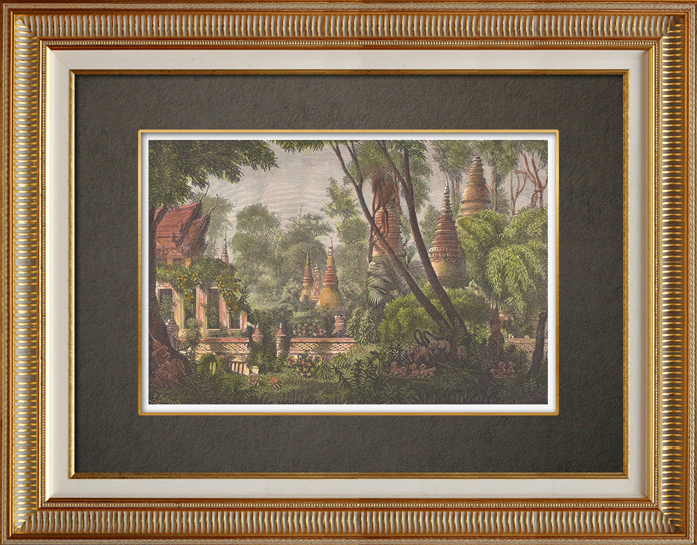 Antique Prints & Drawings | Ruined towers and pagodas in the forest - Vientiane (Laos) | Wood engraving | 1871