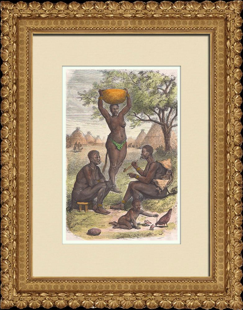 Gravures Anciennes & Dessins   Femmes Bongo - Groupe ethnique (Soudan du Sud)   Gravure sur bois   1874