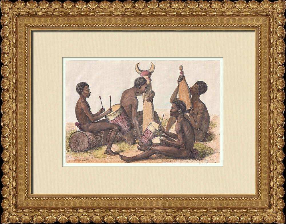 Gravures Anciennes & Dessins | Musiciens Bongo - Groupe ethnique au Soudan du Sud | Gravure sur bois | 1874