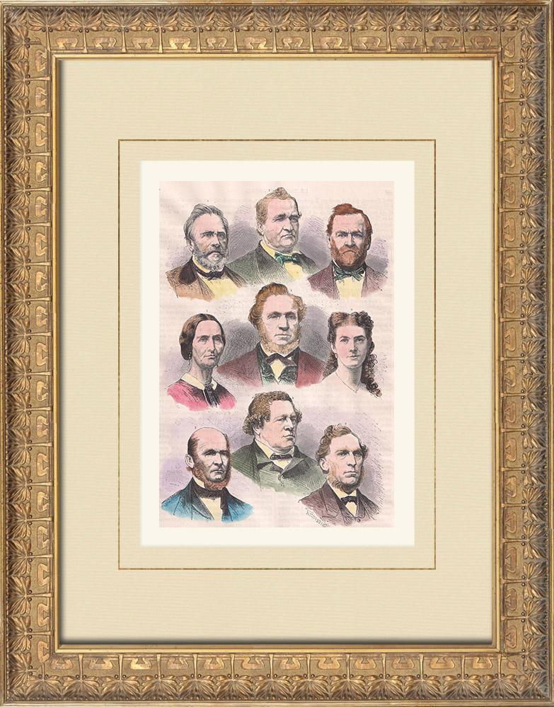 Gravures Anciennes & Dessins   Portraits de Mormons   Gravure sur bois   1874