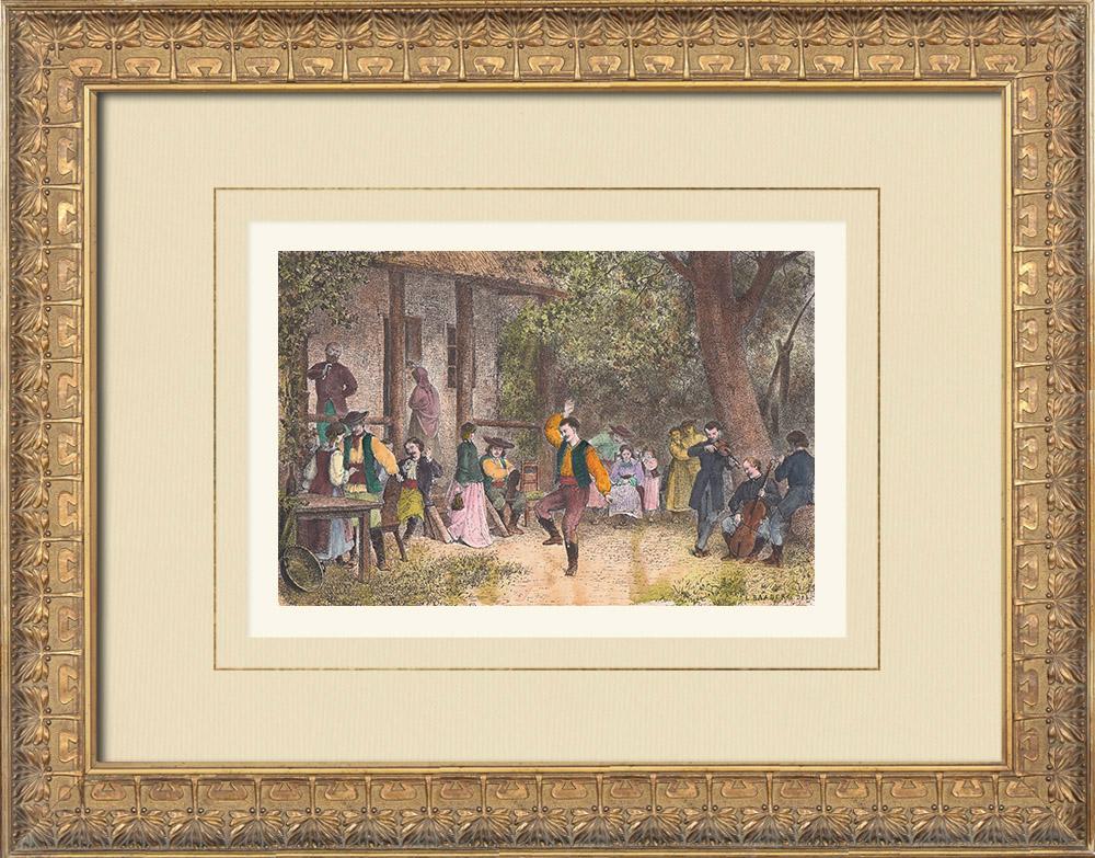 Gravures Anciennes & Dessins | Noces - Danse - Tradition (Transylvanie) | Gravure sur bois | 1874