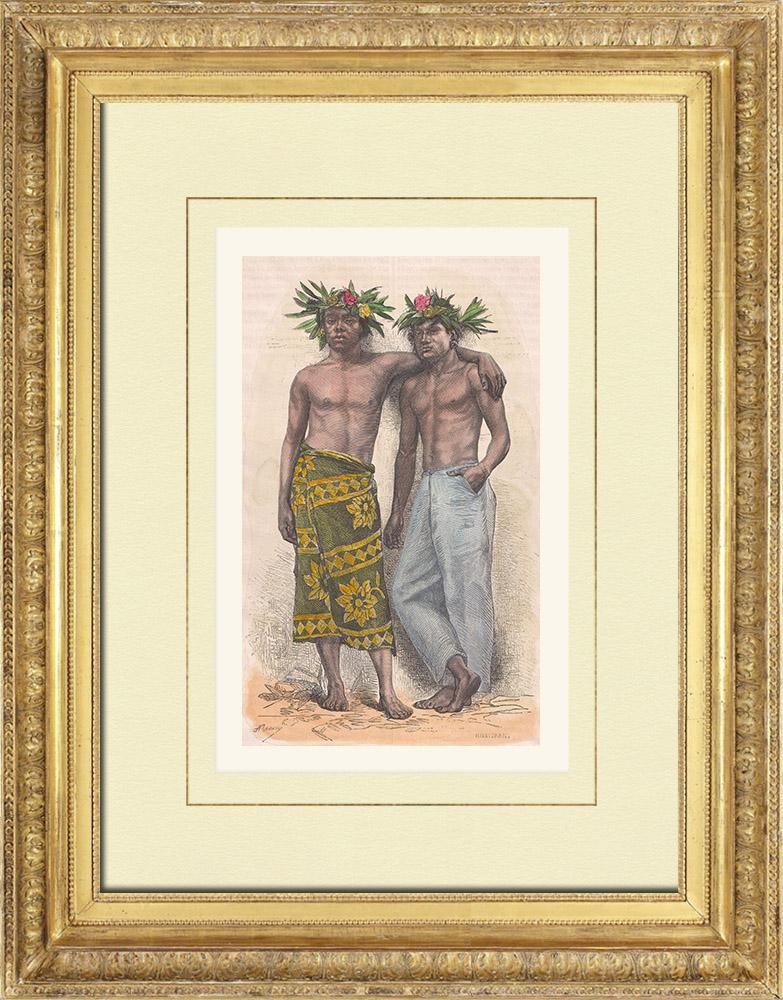 Antique Prints & Drawings | Tahitian men - French Polynesia (France)  | Wood engraving | 1876