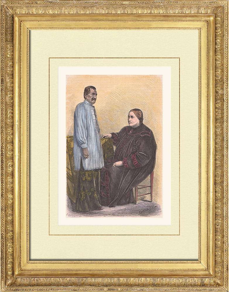 Gravures Anciennes & Dessins | La reine Pomare IV et son époux le prince Ari'ifaaite - Tahiti - Polynésie française (France) | Gravure sur bois | 1876