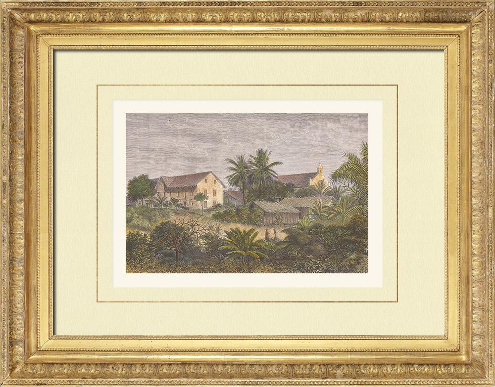 Gravures Anciennes & Dessins | Mission du Gabon - Baraka - Afrique Centrale (Gabon) | Gravure sur bois | 1876
