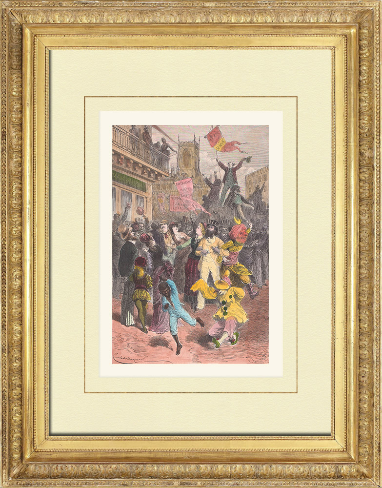 Antique Prints & Drawings | Carnival in New Orleans - Louisiana (United States of America) | Wood engraving | 1876