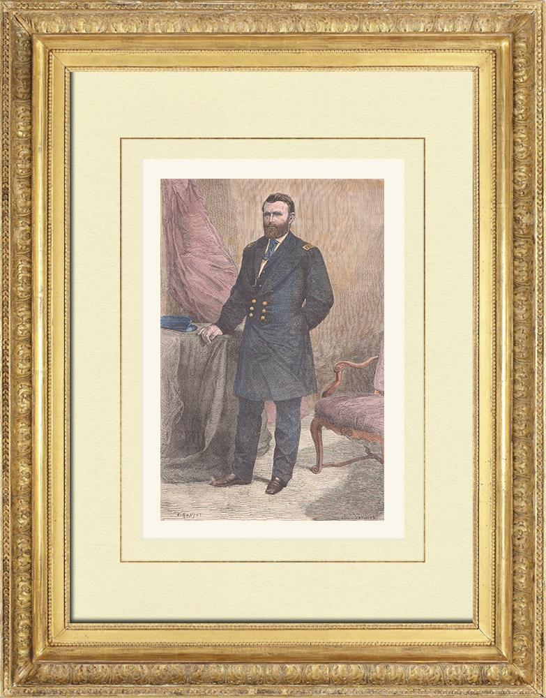 Gravures Anciennes & Dessins | Portrait de Ulysses S. Grant (1822-1885) | Gravure sur bois | 1876