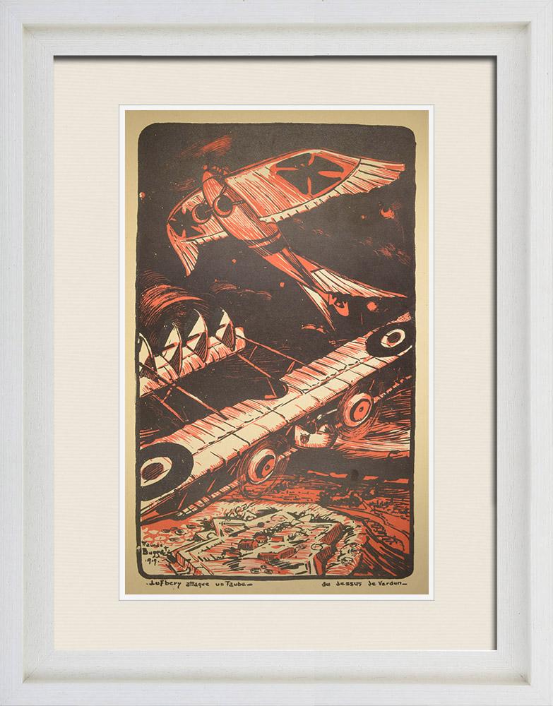 Stampe Antiche & Disegni | Combattimento Aereo - WW1 - Lufbery, asso dell'aviazione militare, attacca un Taube tedesco - Verdun | Litografia | 1919