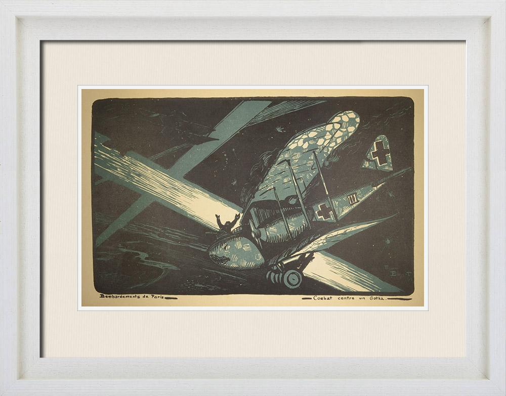 Gravures Anciennes & Dessins | Combat Aérien - WW1 - Bombardement de Paris par des Gotha allemands (1918)  | Lithographie | 1919