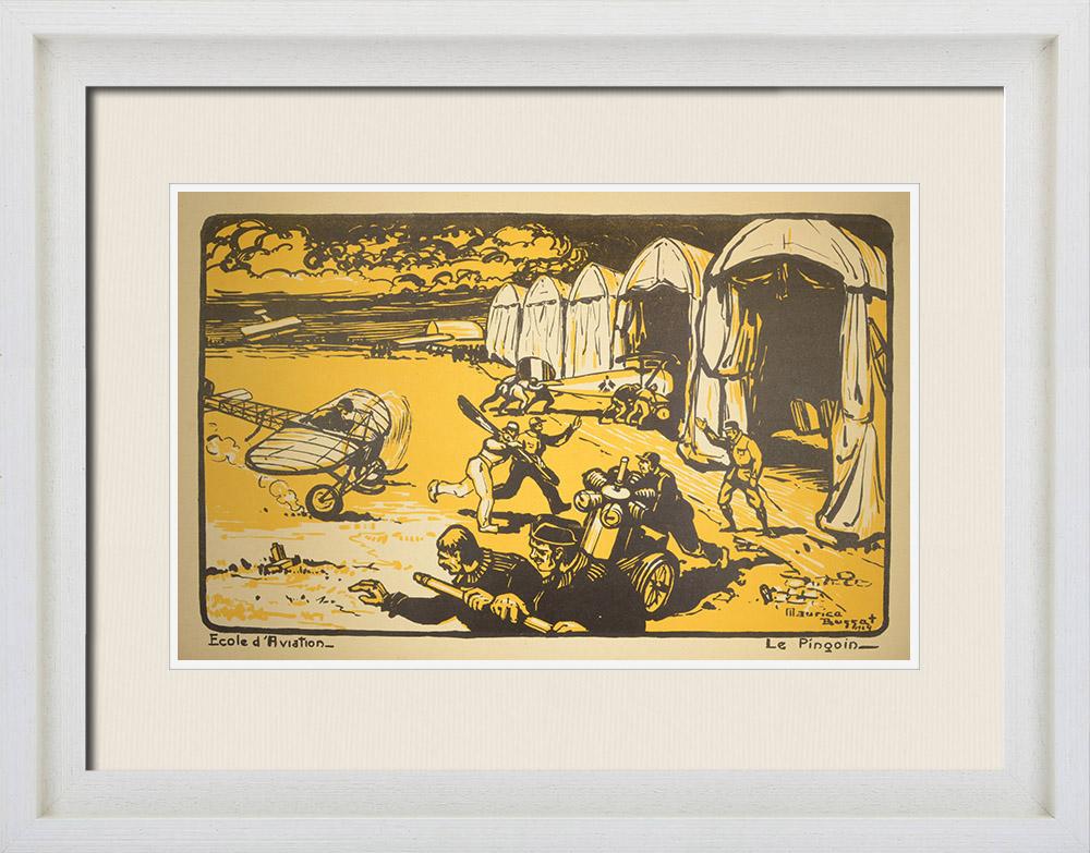 Gravures Anciennes & Dessins   Combat Aérien - WW1 - École d'Aviation - Le Pingouin - Elèves pilotes   Lithographie   1919