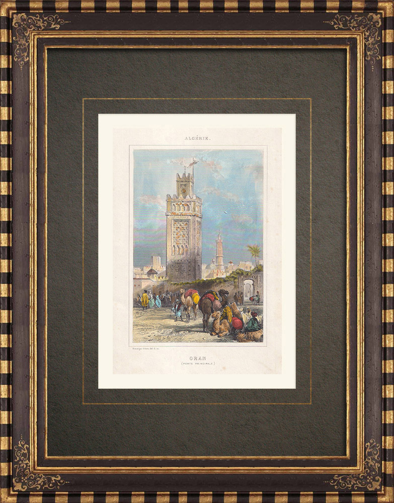 Grabados & Dibujos Antiguos | Vista de Orán - Porta de ciudad (Argelia) | Grabado en talla dulce | 1843